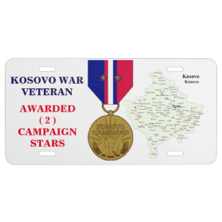 2 CAMPAIGN STARS KOSOVO WAR VETERAN LICENSE PLATE