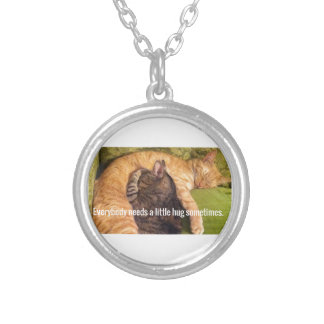 2 Cats Cuddling and Sleeping Silver Plated Necklace
