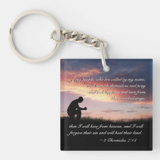 2 Chronicles 7:14 Bible Verse Man Kneeling to Pray Keychain