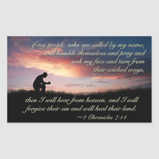 2 Chronicles 7:14 Scripture Praying at Sunset Sticker