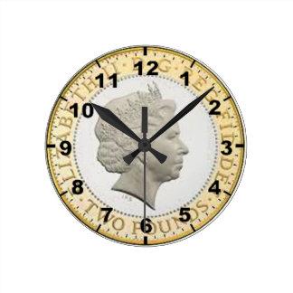 """""""£2 Coin (Queen's head)"""" design wall clocks"""