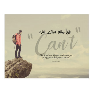 """2 Corinthians 12:9 - No Such Thing As """"Can't"""" Postcard"""