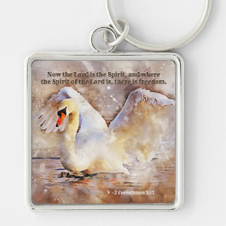 2 Corinthians 3:17 ...there is freedom Bible Verse Keychain
