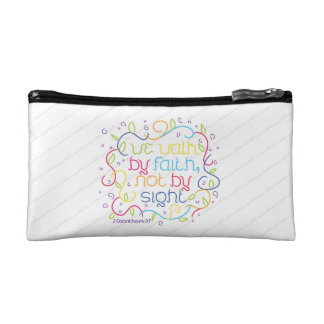 2 Corinthians 5:7 We walk by faith, not by sight. Makeup Bags