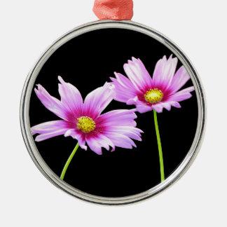 2 Cosmos Silver-Colored Round Ornament