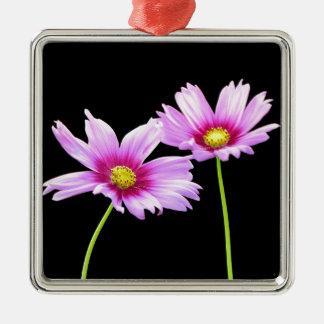 2 Cosmos Silver-Colored Square Ornament