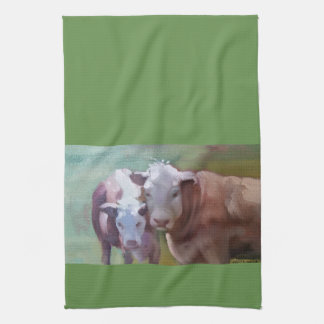 2 Cows in a Landscape Kitchen Towel