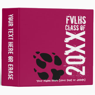 "2"" Customizable ""Class of"" maroon pawprint binder"