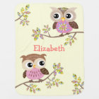 2 Cute Owls on Colourful Branches Baby Blanket
