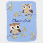2 Cute Owls on Colourful Branches in Baby Blue Baby Blanket