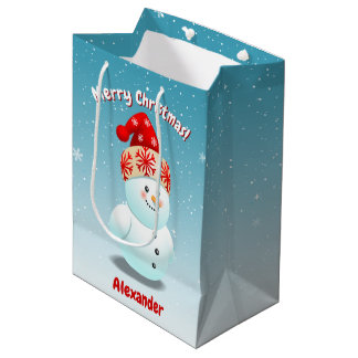 2 Cute Snowmen With Carrot Noses Medium Gift Bag