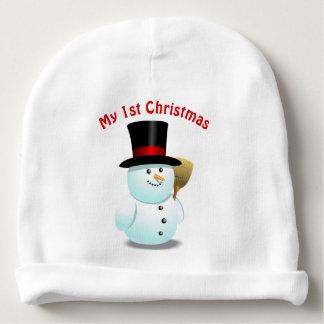2 Cute Xmas Snowmen Cartoons Baby Beanie