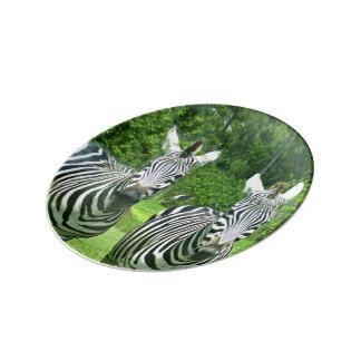 2 Cute Zebras Plate