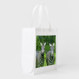 2 Cute Zebras Reusable Grocery Bag