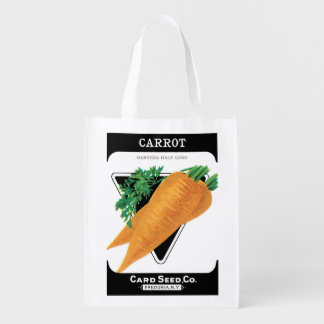 2 Different Vintage Seed Packet Label Art Veggies Reusable Grocery Bags