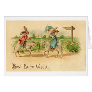 2 Easter bunnies on lambs card