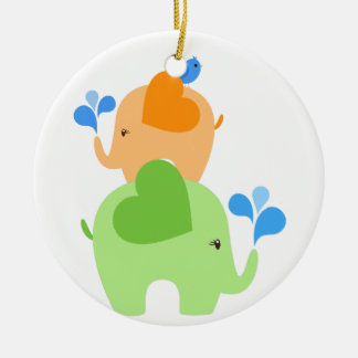 2 Elephants and a Bird Ceramic Ornament