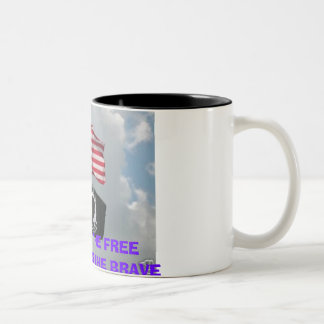 2 flages, HOME OF THE FREEBECAUSE OF THE BRAVE Two-Tone Coffee Mug
