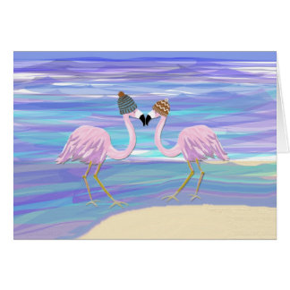 2 Flamingos in Knitted Hats Card