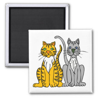 2 Funny Cartoon Alley Cats with Whiskers Square Magnet
