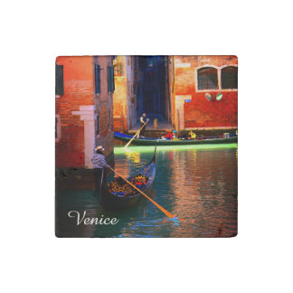 2 Gondolas On A Small Canal From Venice, Italy Stone Magnets