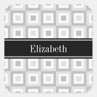 2 Gray Wht Concentric Square Black Name Monogram Square Sticker