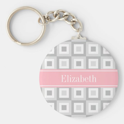 2 Gray Wht Concentric Square Pink Name Monogram Key Chains