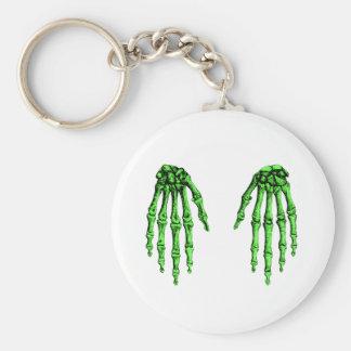 2 Hands Down Deep Green Basic Round Button Keychain