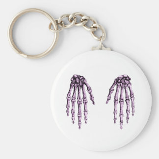 2 Hands Down Purple Basic Round Button Keychain