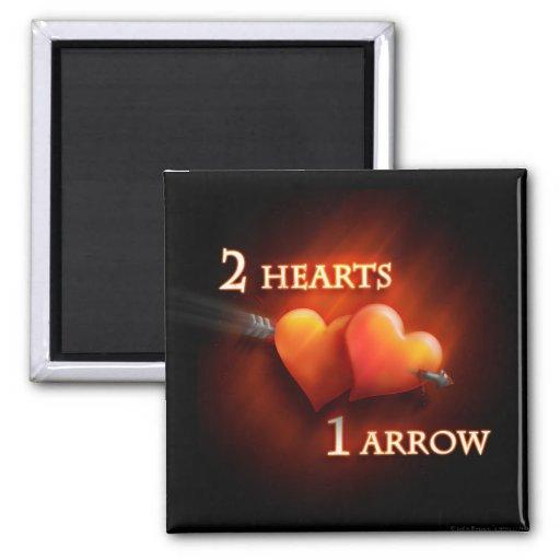 2 Hearts - 1 Arrow - Magnet