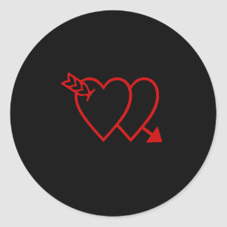2 Hearts. 1 Arrow. No Name. Classic Round Sticker
