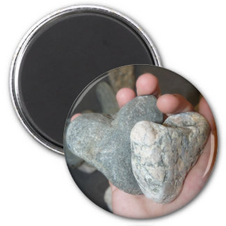 2 hearts 2 inch round magnet