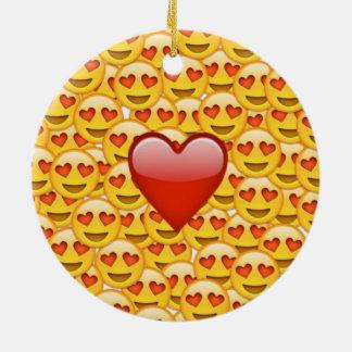 2 hearts emoji ceramic ornament