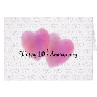 2 Hearts Happy 10th Anniversary Card