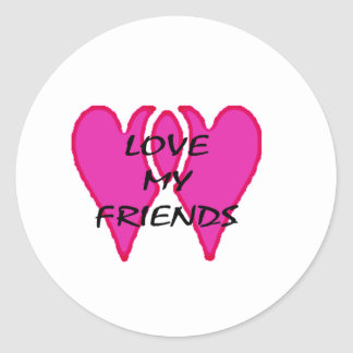 2 Hearts Together Love My Friends Template Sticker
