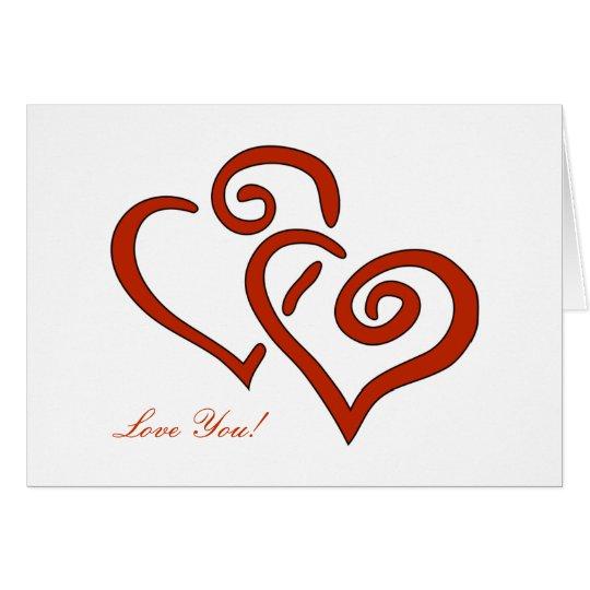 2 Hearts Valentine's Day Custom Love You Card
