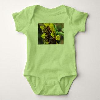 2 Honeybees on a Sunflower Baby Bodysuit