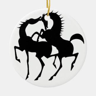2 horses  love ceramic ornament