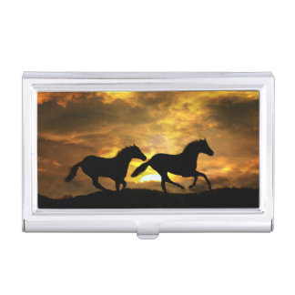 2 Horses Running in the Sunset Business Card Holde Business Card Holder