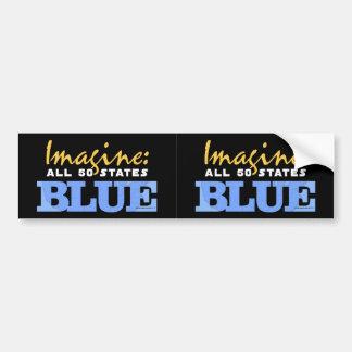 2-in-1 Imagine All 50 States Blue Bumper Sticker