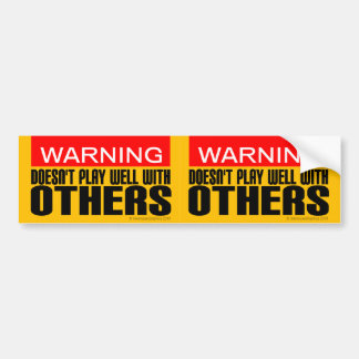 2-in-1 Warning: Doesn't Play Well With Others Bumper Sticker