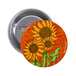 2 inch Round Button/Sunflower Trio 2 Inch Round Button