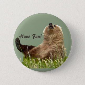 2¼ Inch Round Button w/ playful grizzly cub