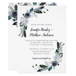 #2 Indigo Blue White Black Boho Watercolor Wedding Card