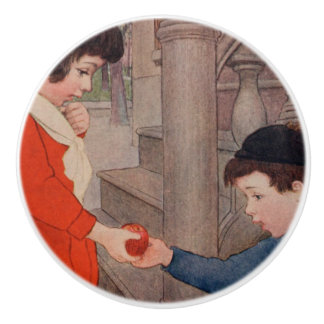 2 kids sharing an apple ceramic knob