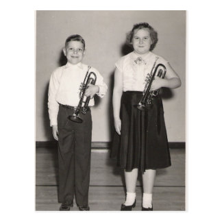 2 Kids with Trumpets Postcard