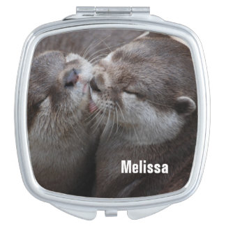 2 Kissing Otters Wildlife Photo Compact Mirror