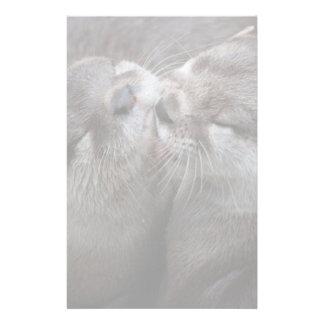 2 Kissing Otters Wildlife Photo Stationery
