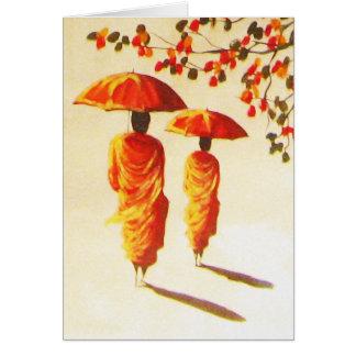 2 Laotian Buddhist Monks Card