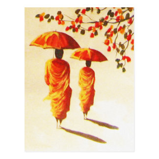 2 Laotian Buddhist Monks Postcard